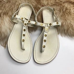 Tory Burch Marge Sandals Gold White Logo Thong